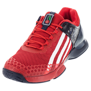 Men`s Adizero Ubersonic G Dub Tennis Shoes Vivid Red and Off White