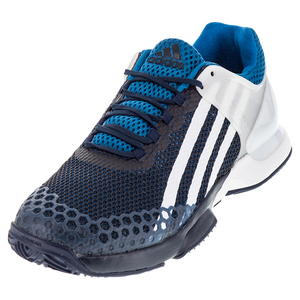 Men`s Adizero Ubersonic Clay Tennis Shoes Collegiate Navy and White