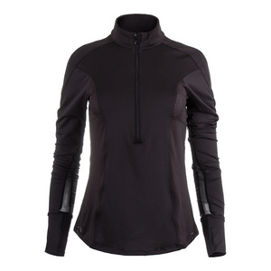 Women`s Long Sleeve 1/4 Zip Tennis Top Black