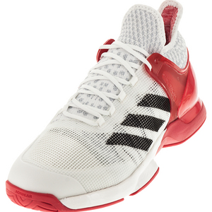 Men`s Adizero Ubersonic 2 Tennis Shoes White and Ray Red