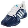 ADIDAS Men`s Barricade Classic Bounce Tennis Shoes Mystery Blue and Silver Metallic
