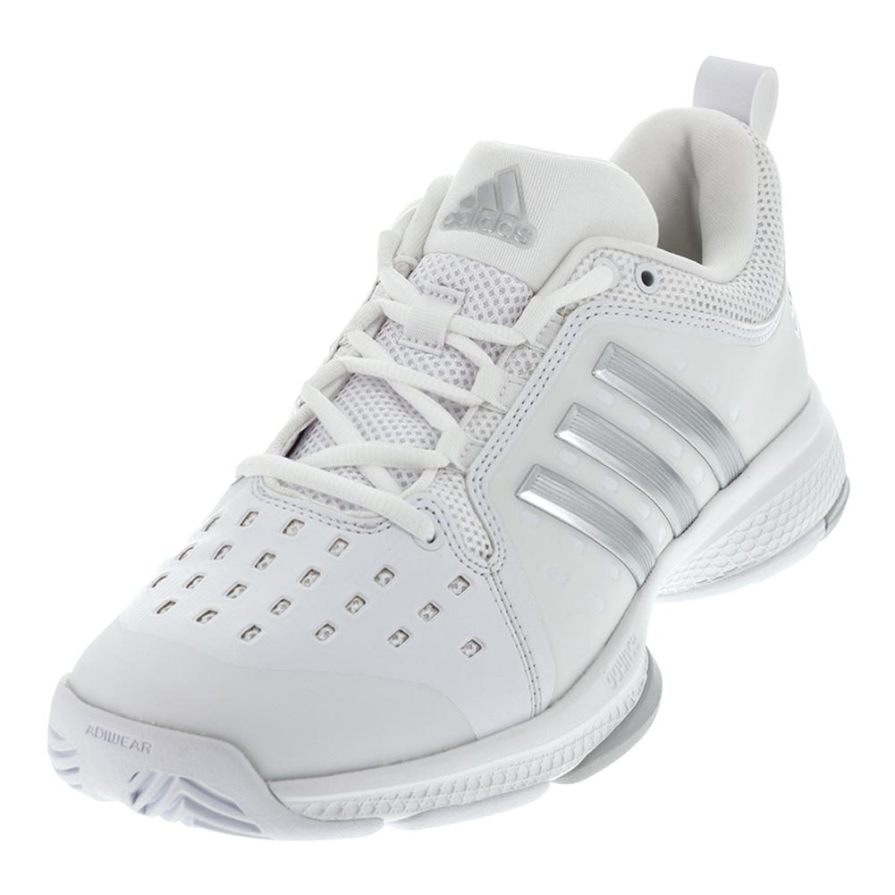 120b0a07dc22e2 ADIDAS ADIDAS Women s Barricade Classic Bounce Tennis Shoes White And  Silver Metallic
