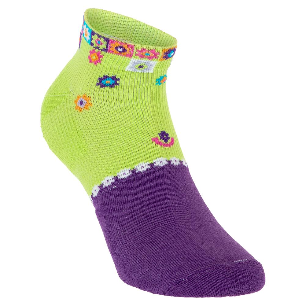 Women's Light Weight Low Cut Tennis Socks Lime And Violet