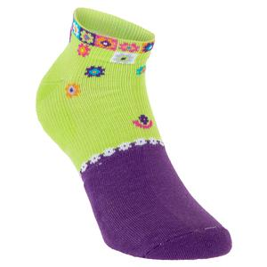 Women`s Light Weight Low Cut Tennis Socks Lime and Violet