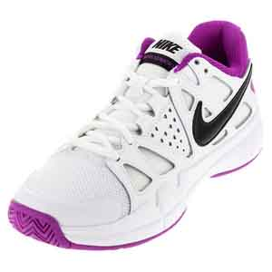 Women`s Air Vapor Advantage Tennis Shoes White and Hyper Violet