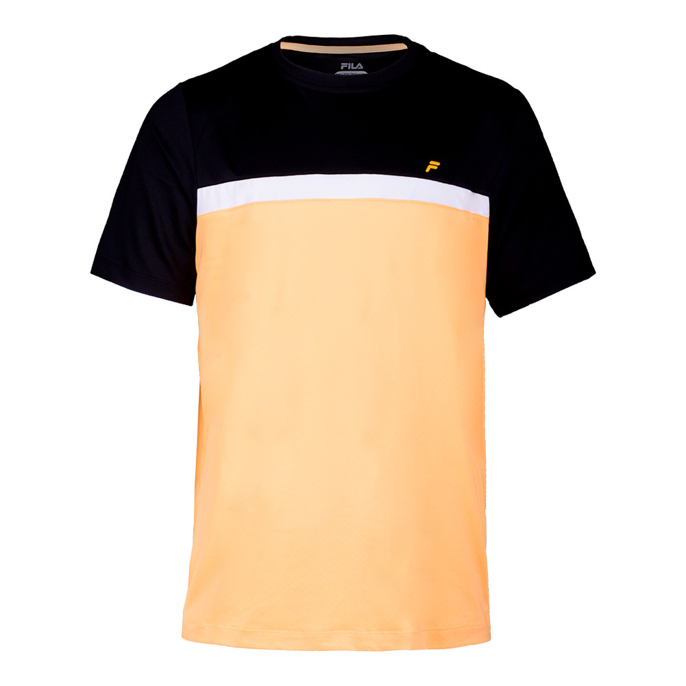 Men's Platinum Color Blocked Tennis Crew Orange Pop And Black