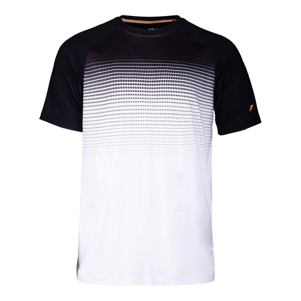 Men's Platinum Printed Tennis Crew White And Black