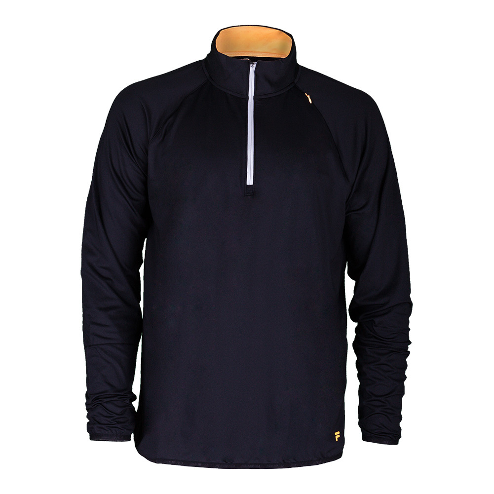 Men's Platinum Quarter Zip Tennis Top Black