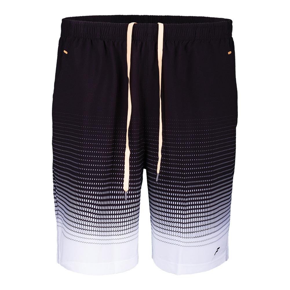Men's Platinum Printed Tennis Short Black And White