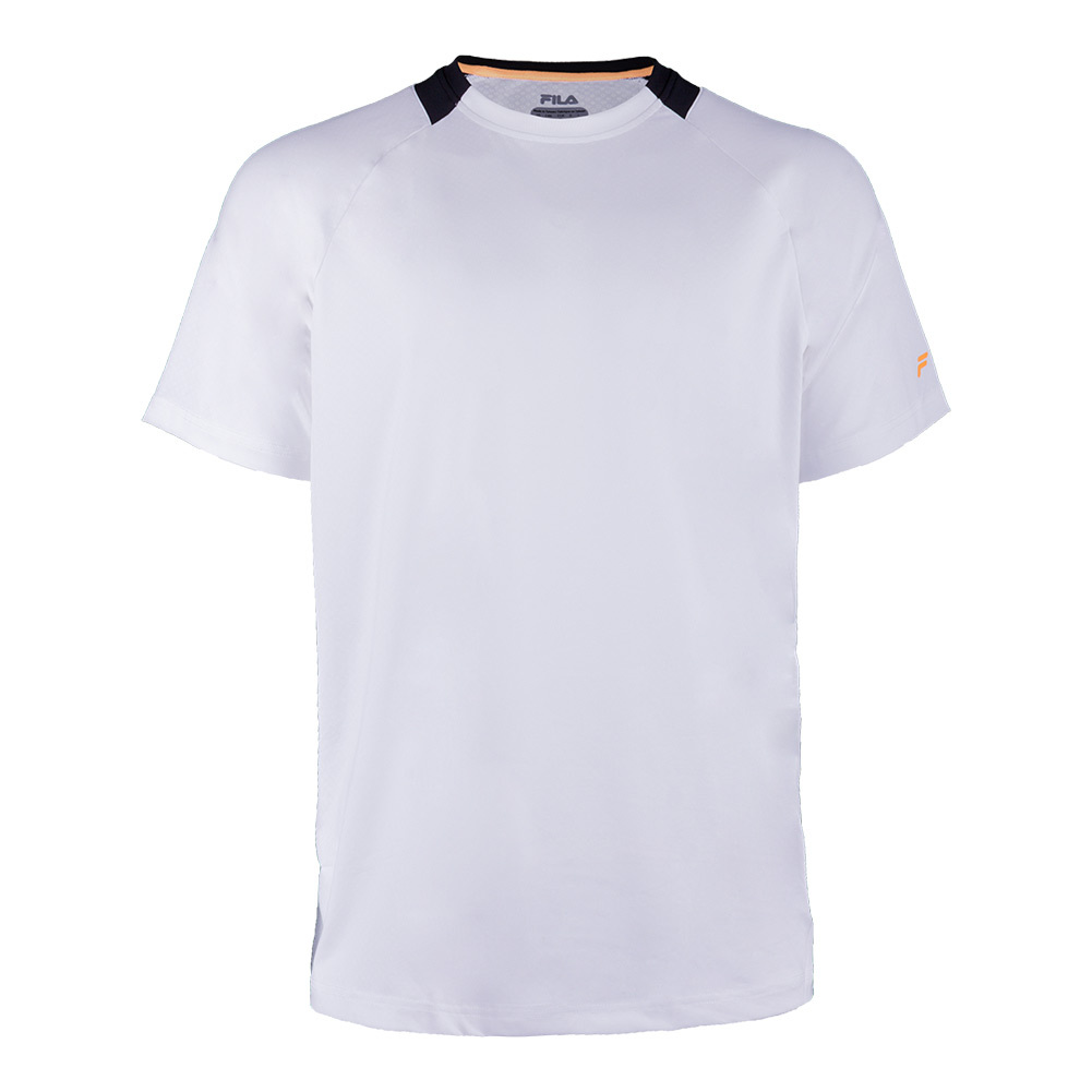 Men's Platinum Laser Cut Tennis Crew White And Black