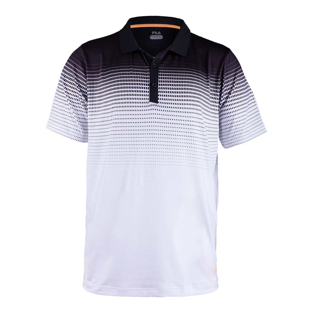 Men's Platinum Printed Tennis Polo White And Black