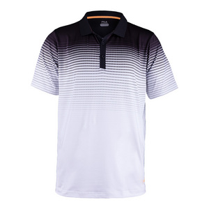 Men`s Platinum Printed Tennis Polo White and Black