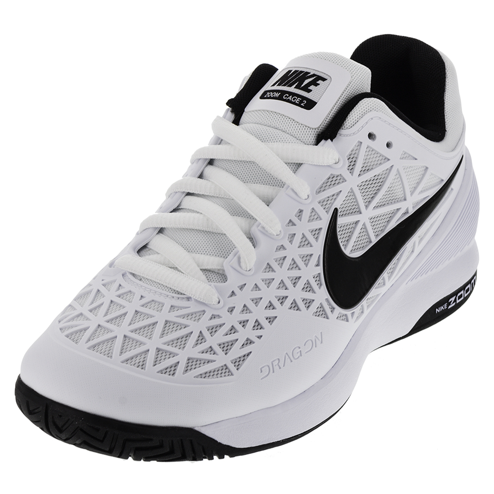 Men's Zoom Cage 2 Tennis Shoes White And Cool Gray