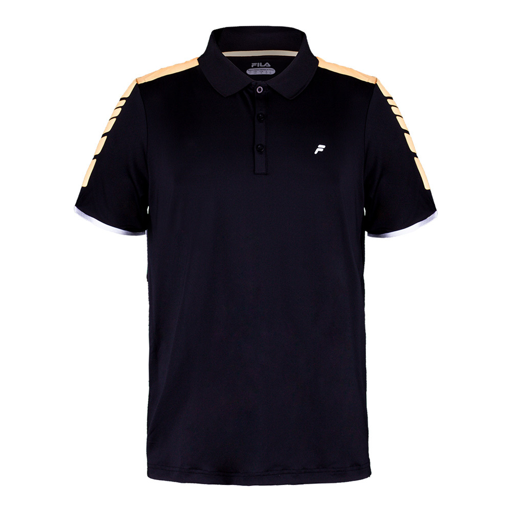 Men's Platinum Laser Cut Tennis Polo Black And Orange Pop
