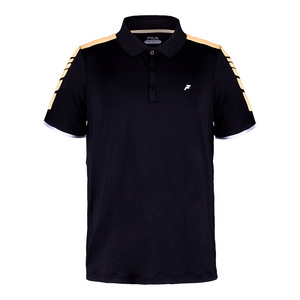 Men`s Platinum Laser Cut Tennis Polo Black and Orange Pop