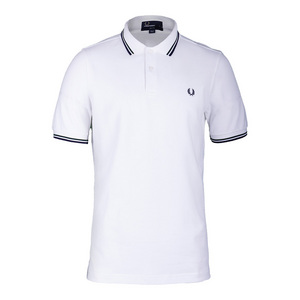 Men`s Twin Tipped Tennis Polo White and Mid Ivy