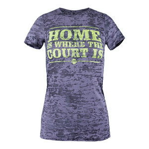 Women`s Home is Where the Court Is Tennis Tee Gray Burnout