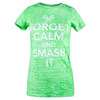 Women`s Forget Calm and Smash It Tennis Tee NEON_GREEN_BURNOUT