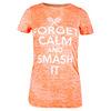 Women`s Forget Calm and Smash It Tennis Tee NEON_ORANGE_BURNOUT