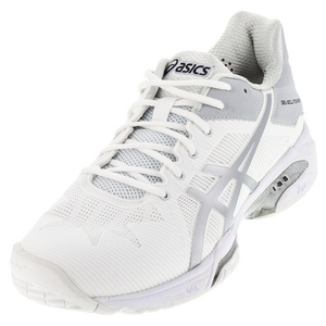 Men`s Gel-Solution Speed 3 Tennis Shoes White and Silver
