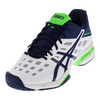 ASICS Men`s Gel-Solution Lyte 3 Tennis Shoes White and Indigo Blue