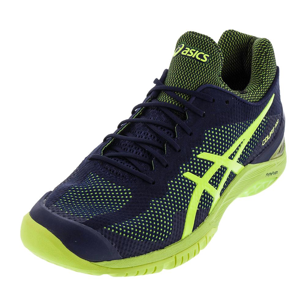 Unisex Gel- Court Ff Tennis Shoes Indigo Blue And Safety Yellow
