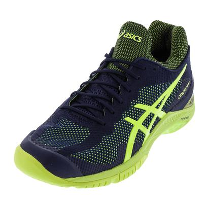 Unisex Gel-Court FF Tennis Shoes Indigo Blue and Safety Yellow