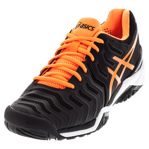 Men`s Gel-Resolution 7 Tennis Shoes Black and Shock Orange
