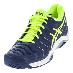 Men`s Gel-Challenger 11 Tennis Shoes Indigo Blue and Safety Yellow
