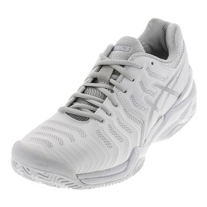 Women`s Gel-Resolution 7 Clay Tennis Shoes White and Silver