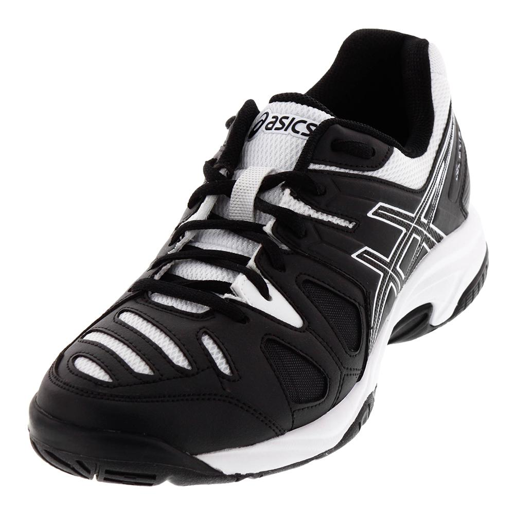 asics junior s gel 5 tennis shoes black and white