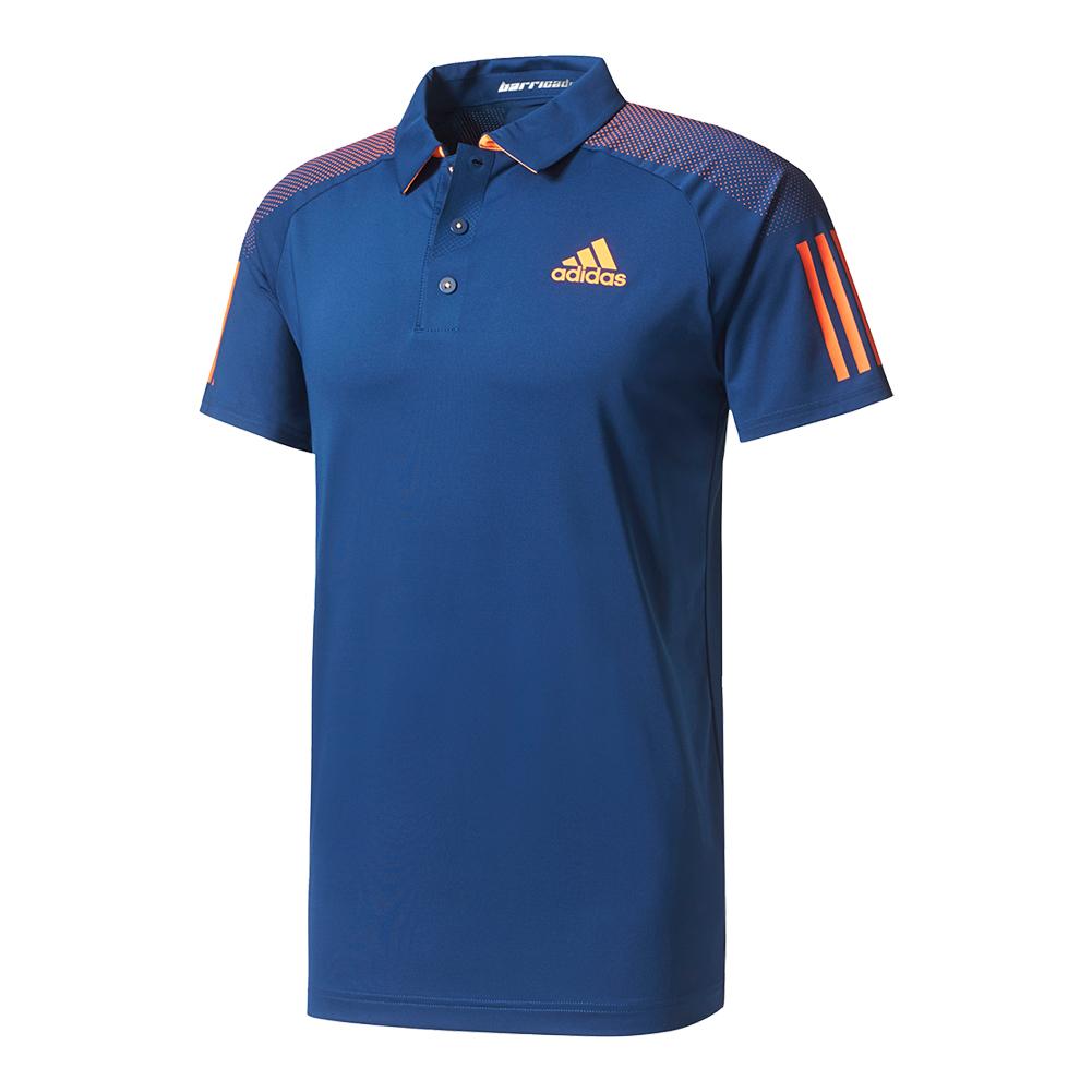 Men's Barricade Tennis Polo Mystery Blue And Glow Orange