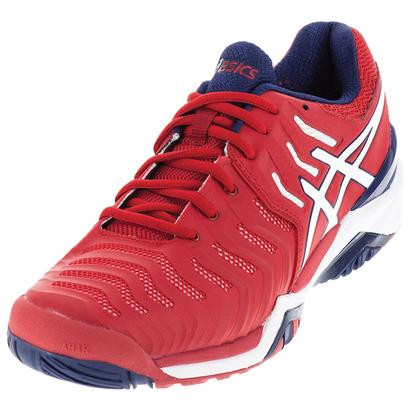 Men`s Gel-Resolution 7 Tennis Shoes True Red and White