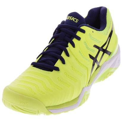 Men`s Gel-Resolution 7 Tennis Shoes Safety Yellow and Indigo Blue