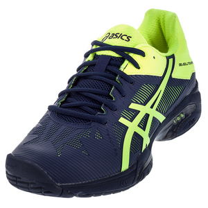 Men`s Gel-Solution Speed 3 Tennis Shoes Indigo Blue and Safety Yellow