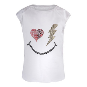 Girls` Rhinestone Smile Tennis Tank White