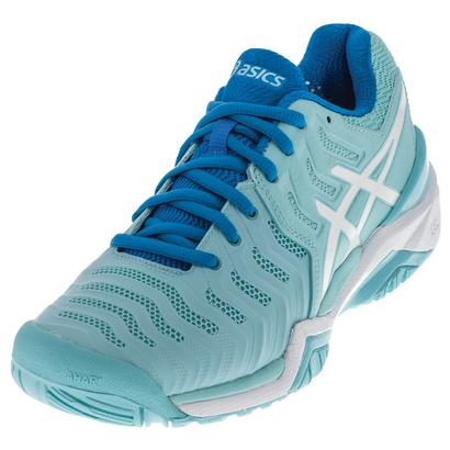 Women`s Gel-Resolution 7 Tennis Shoes Aqua Splash and White