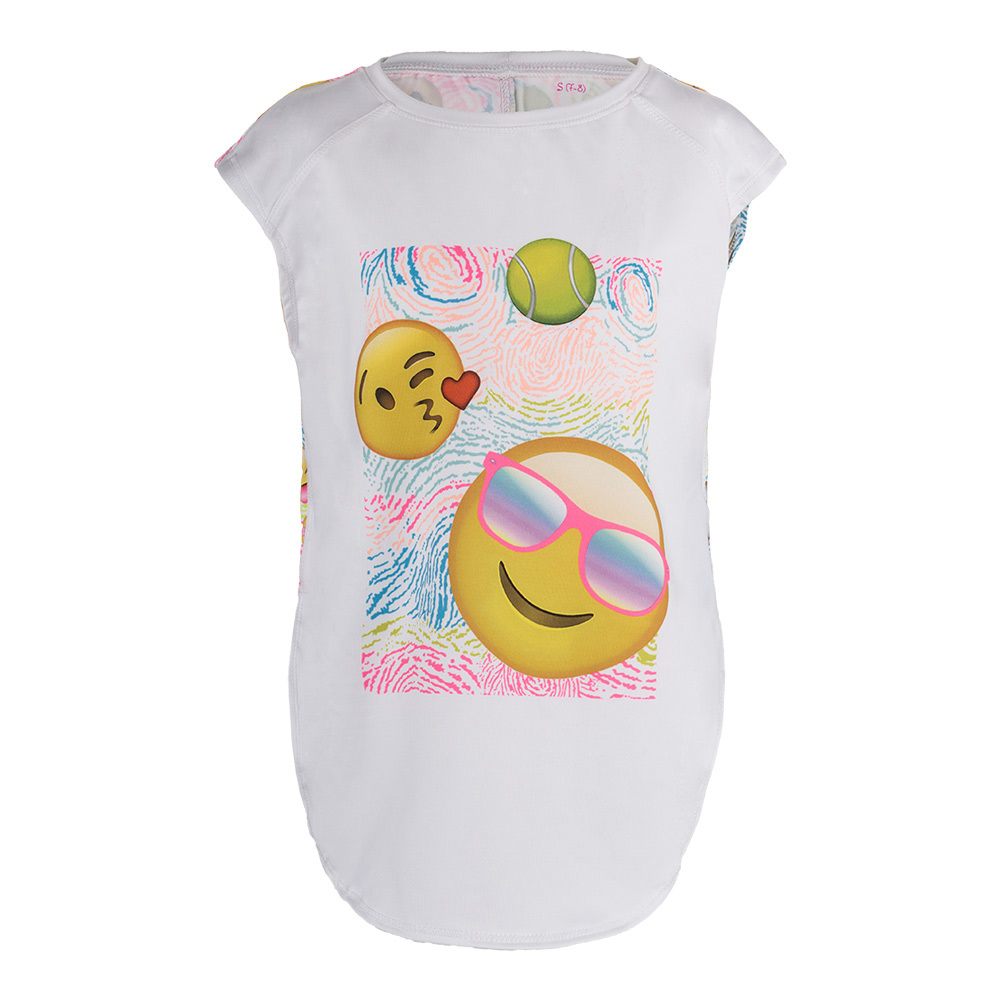 Girls ` Far Out Emoji Tennis Tank Print
