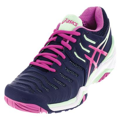 Women`s Gel-Resolution 7 Tennis Shoes Indigo Blue and Pink Glow