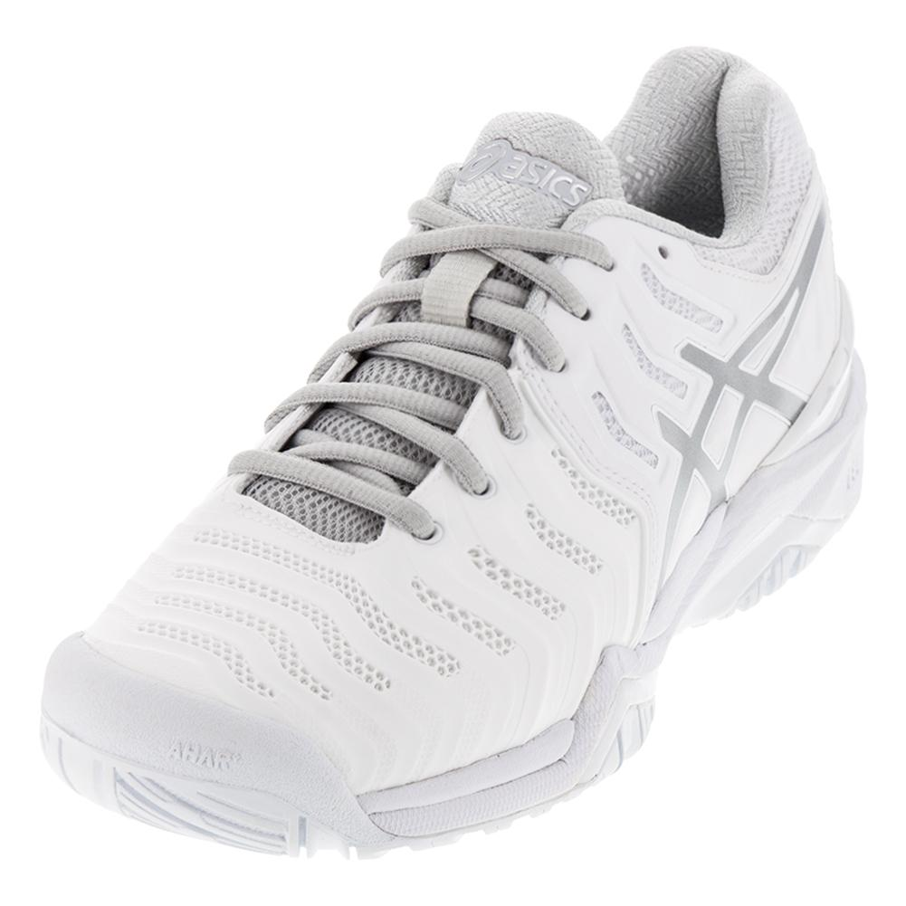 best service 27e09 9fc90 NEW Women`s Gel-Resolution 7 Tennis Shoes White and Silver Asics ...