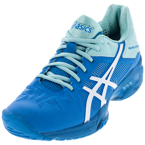 Women`s Gel-Solution Speed 3 Tennis Shoes Aqua Splash and White