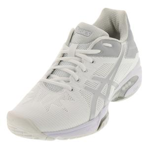 Women`s Gel-Solution Speed 3 Tennis Shoes White and Silver
