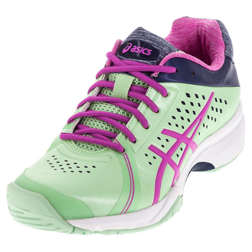 asics gel court tennis shoes paradise green and pink