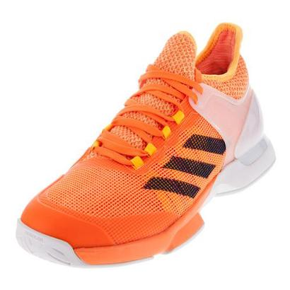 Men`s Adizero Ubersonic 2 Tennis Shoes Glow Orange and Mystery Blue