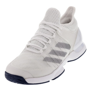 Men`s Adizero Ubersonic 2 Tennis Shoes White and Silver Metallic