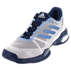 ADIDAS Juniors` Barricade Club Tennis Shoes White and Tech Blue Metallic