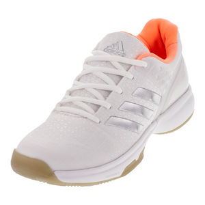 Women`s Adizero Ubersonic 2 Tennis Shoes White and Silver Metallic