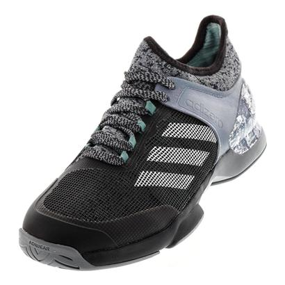 Men`s Adizero Ubersonic 2 Street Art Tennis Shoes Gray and Off White