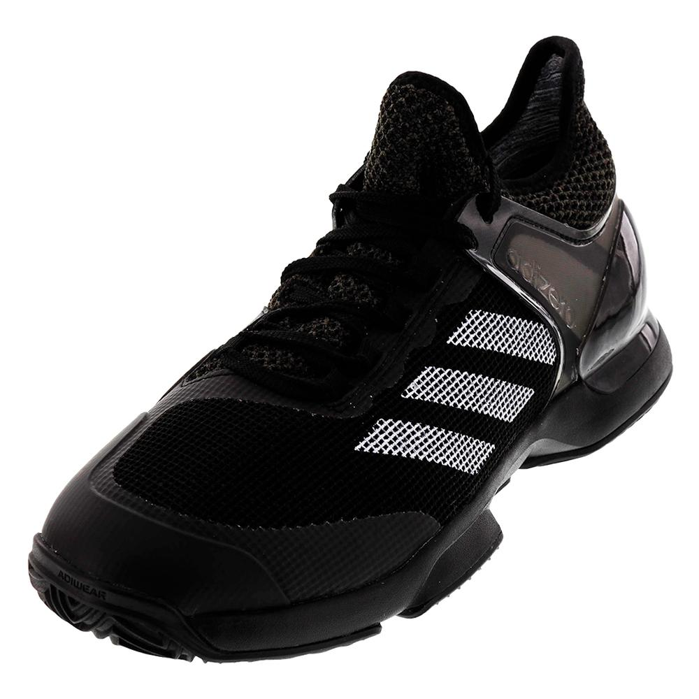 Men's Adizero Ubersonic 2 Clay Tennis Shoes Core Black And White