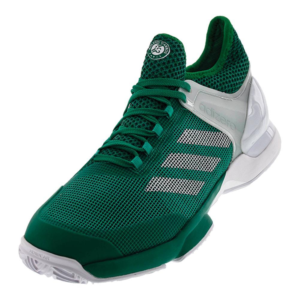 Men's Adizero Ubersonic 2 Clay Tennis Shoes Core Green And White